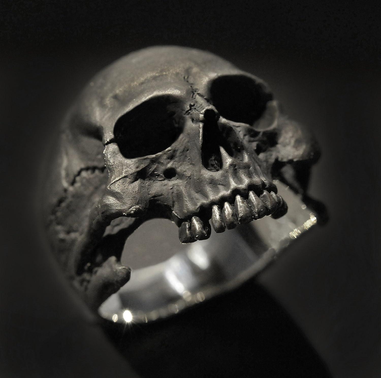 Handmade Sterling Silver Half-Skull Men's Ring - DeluxeAdultCostumes.com