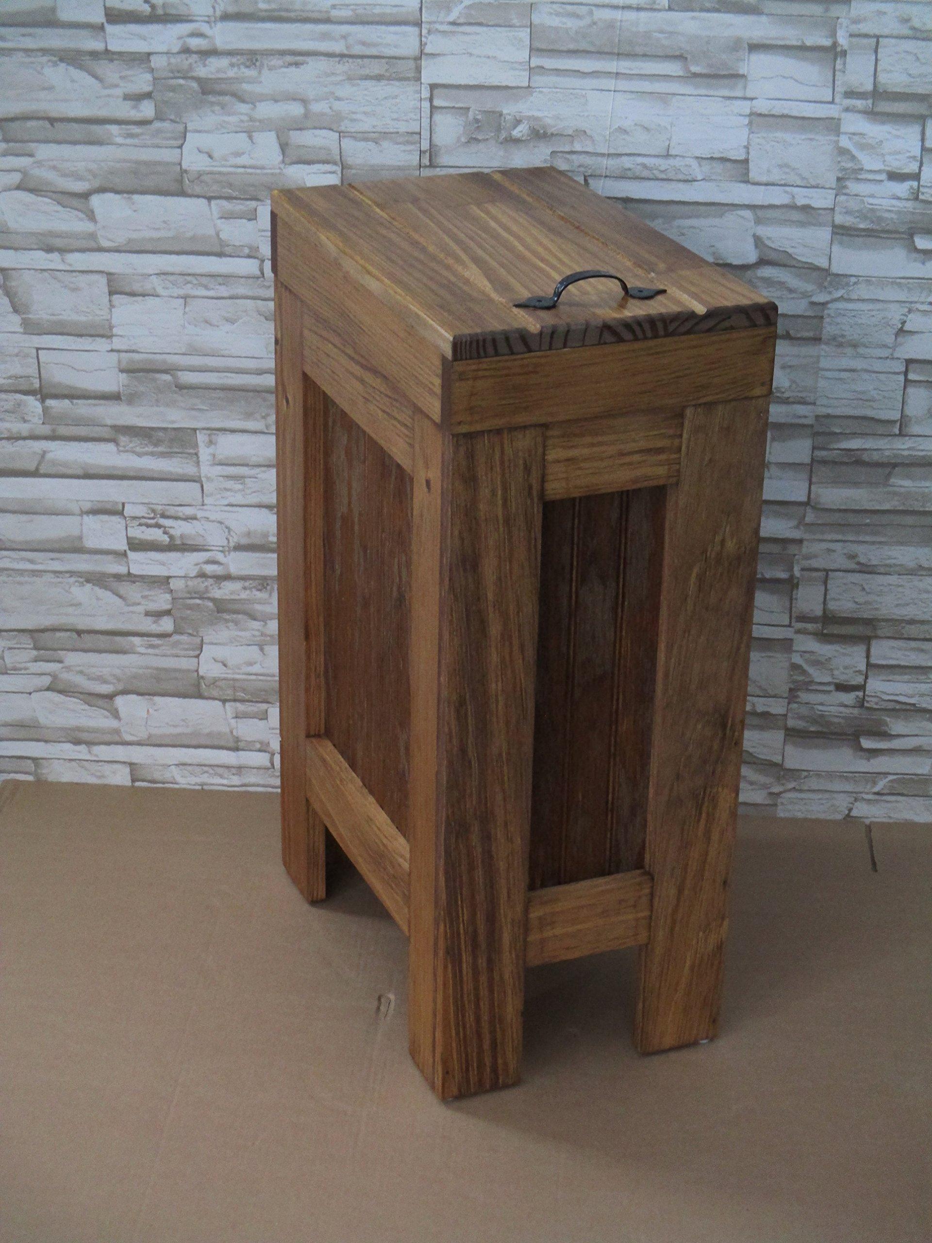 Wood Wooden Trash Bin Kitchen Garbage Can 13 Gallon , Recycle Bin, Dog Food Storage , Early American Stain - Rustic Pine - Metal Handle - Handmade in USA By Buffalowoodshop