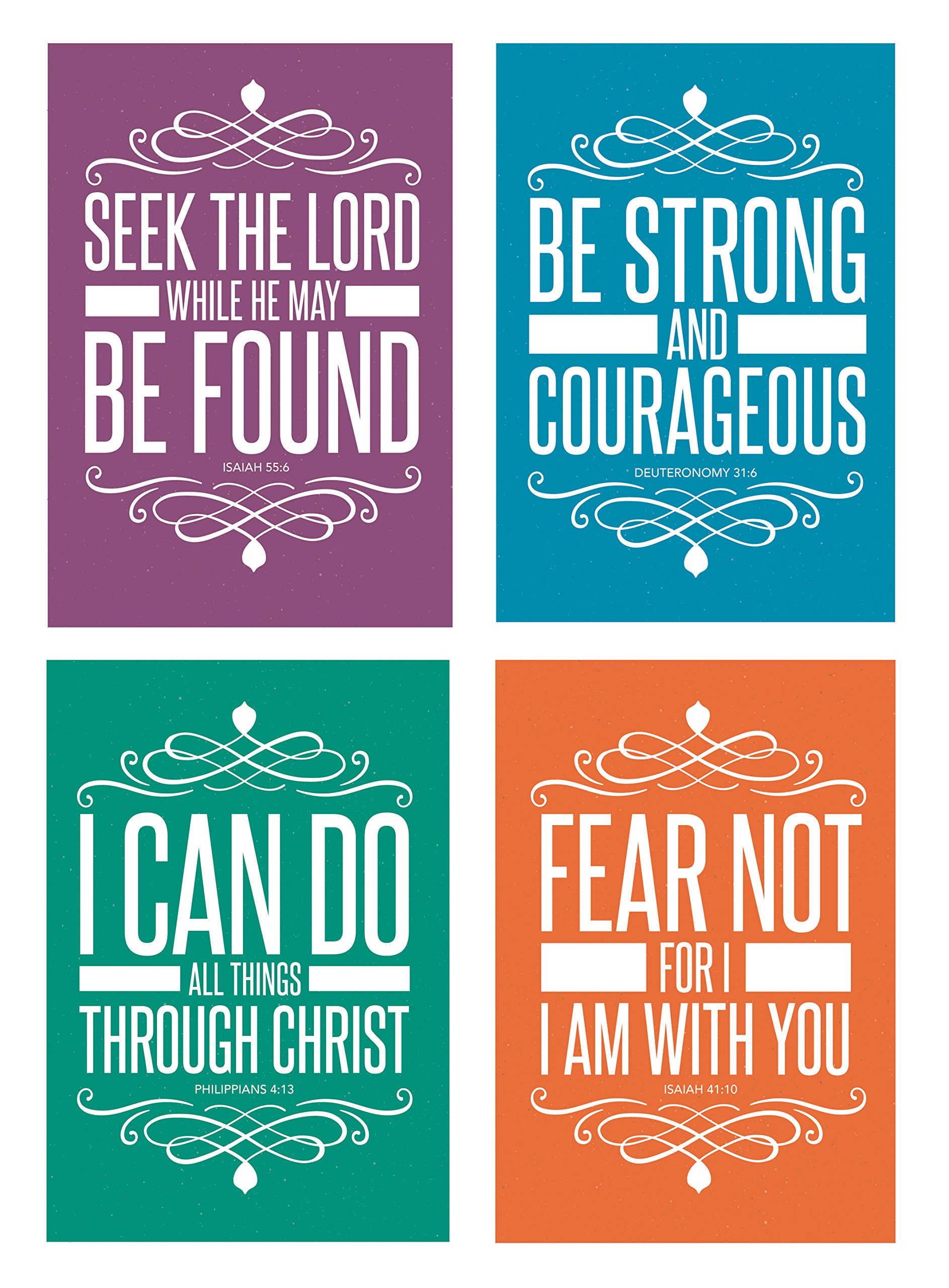 Christian Assorted POSTCARDS (32 Pack) Religious Bible Quotes Scripture Motivational Inspirational Famous Verse Biblical Spiritual Bible Scripture Encouragement (4 x 6 inches) 4 Designs, 8 of each.