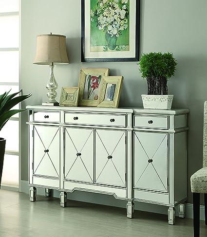 Elegant Coaster Home Furnishings 102595 Wine Cabinet Mirror, Silver