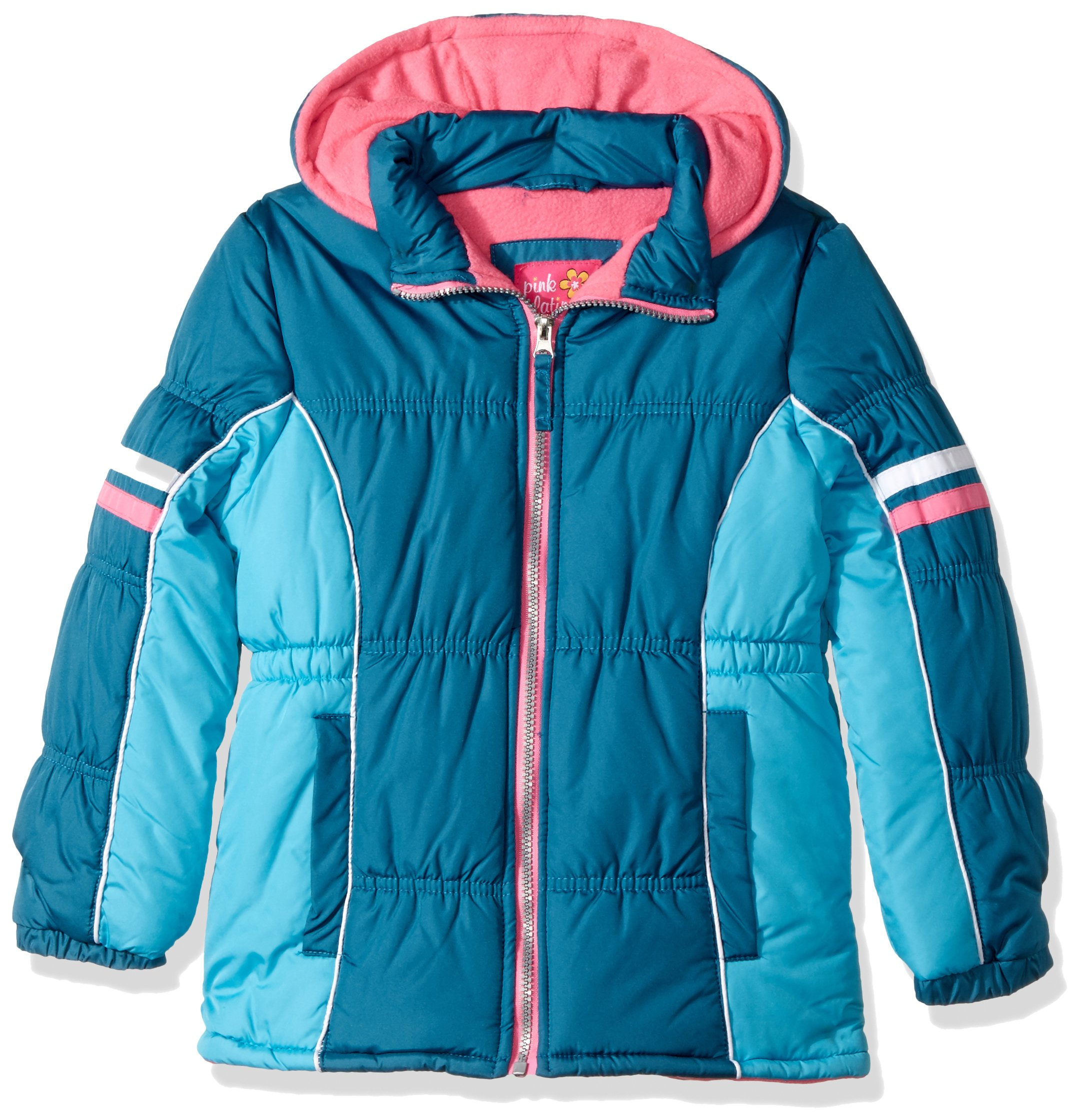 Pink Platinum Big Girls' Colorblock Active Puffer, Deep Teal, 10/12