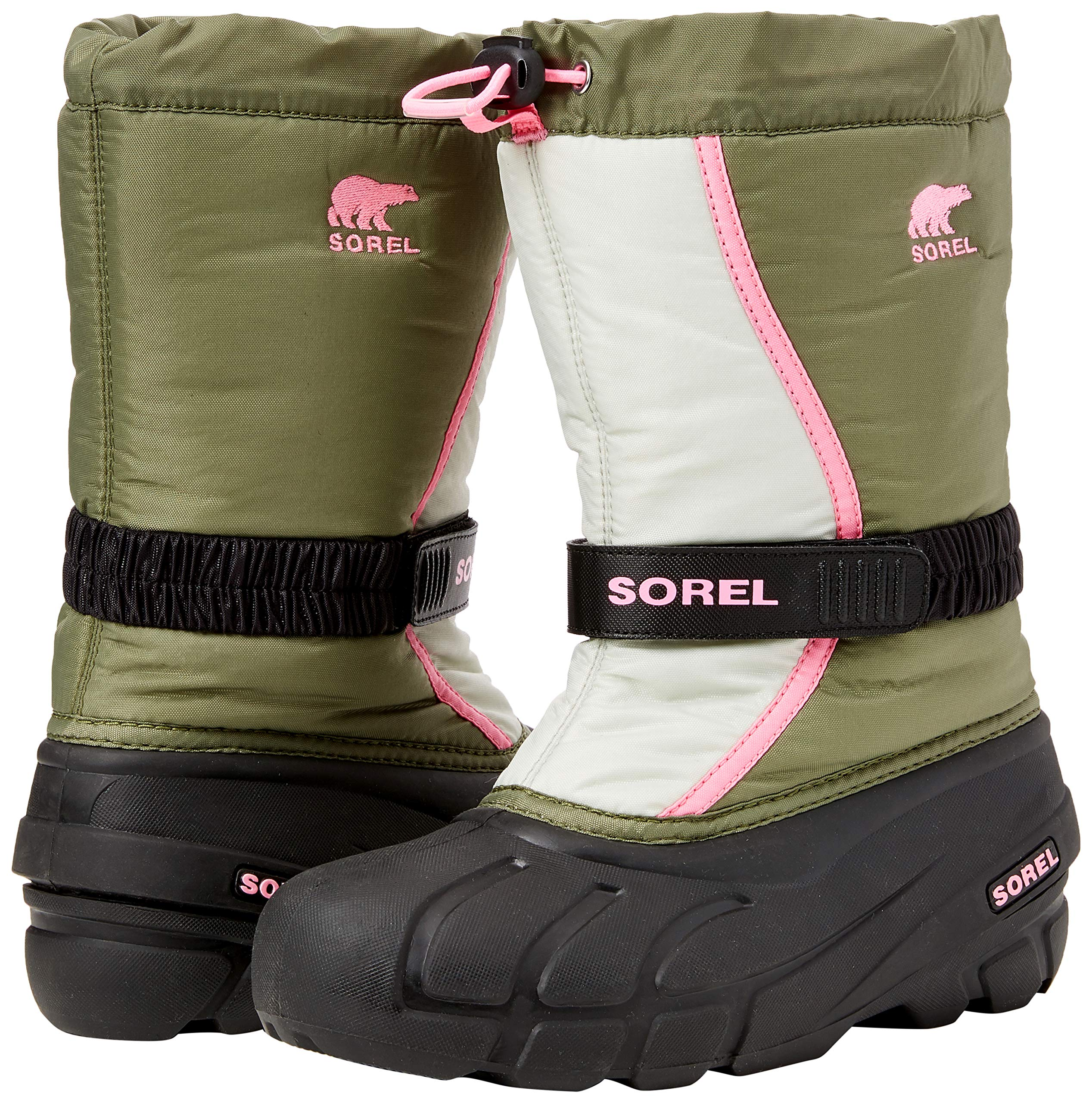 Sorel Girls' Youth Flurry Snow Boot, Hiker Green, Bubblegum, 5 M US Big Kid by Sorel (Image #5)