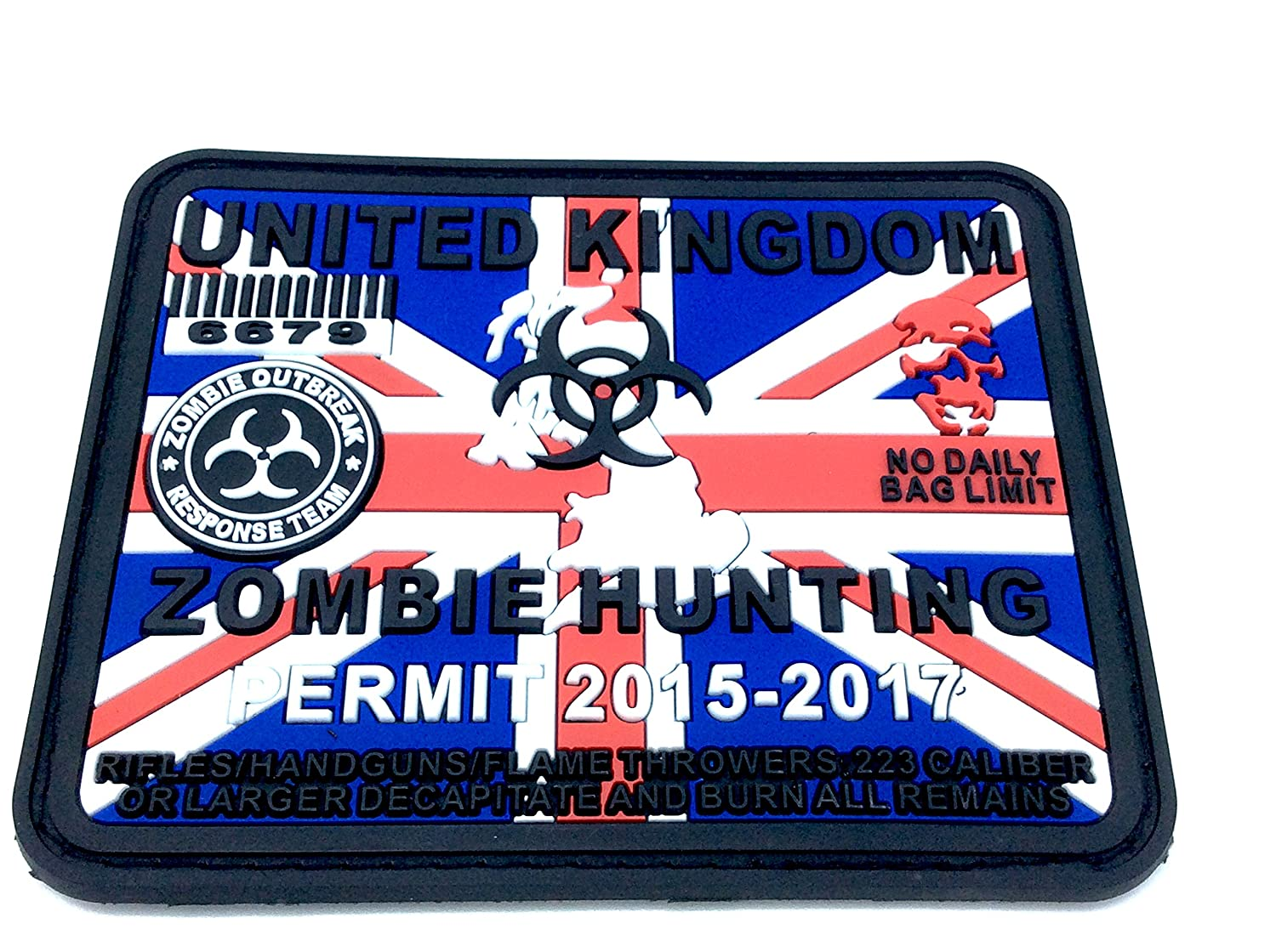 Regno Unito Zombie Caccia Permesso Union Jack Flag Softair PVC Patch Patch Nation