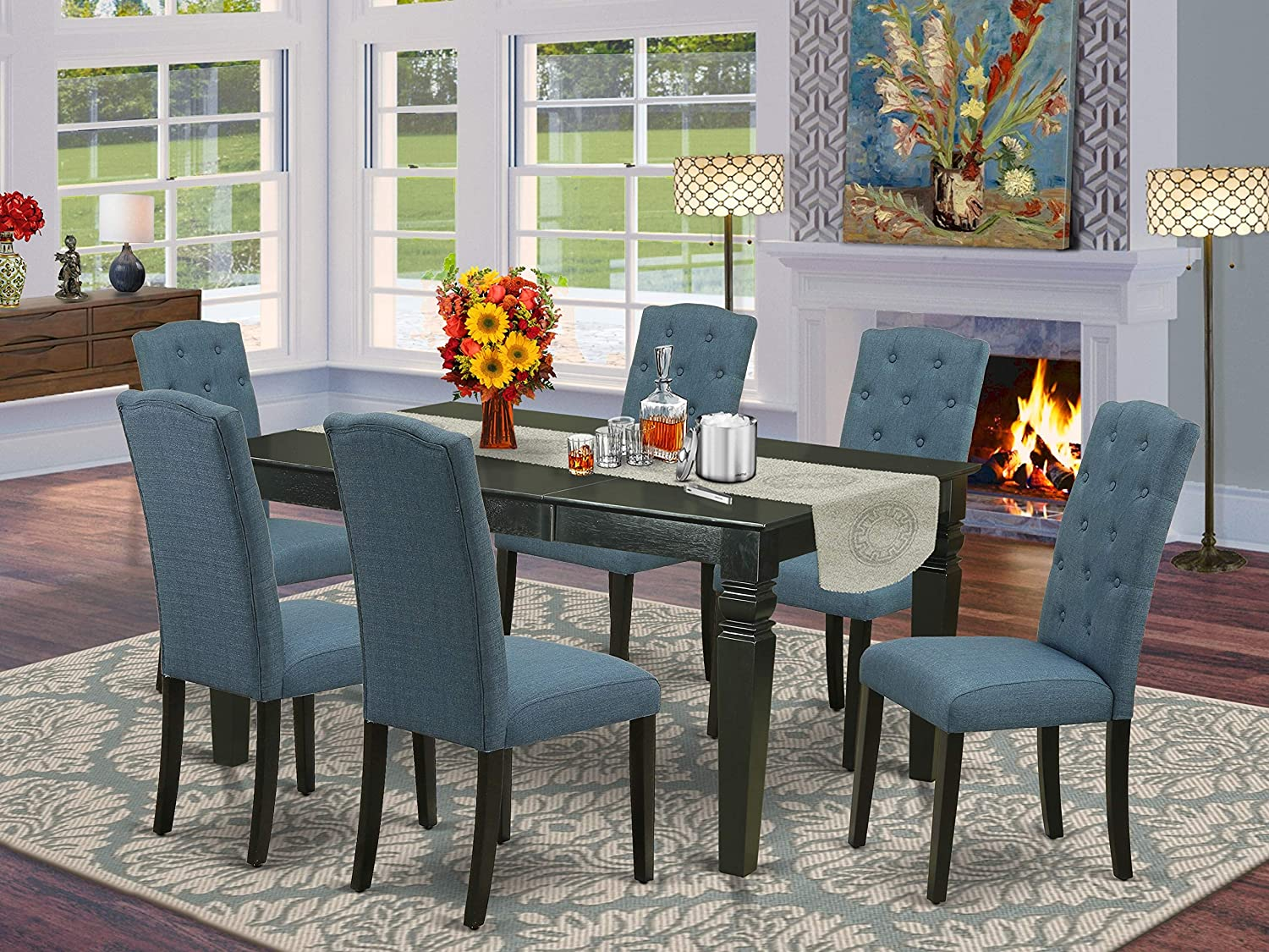 East West Furniture 7Pc Dinette Set Includes a Rectangular Kitchen Table with Butterfly Leaf and Six Parson Chairs with Blue Fabric, Black Finish