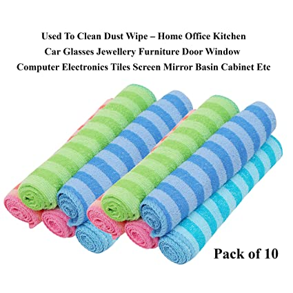 Livzing Microfiber Cleaning Towels All Purpose Duster Cloth Hand Napkin Multicolor Table Wipe�10 Pcs