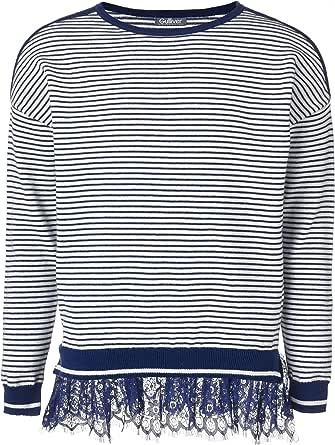 GULLIVER Jersey para niña, azul, de punto, a rayas, 8-13 años, 134-164 cm