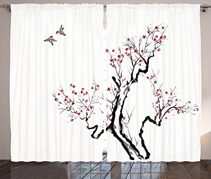 Ambesonne Japanese Curtains Classic Asian Painting Style Art Of Flower Branches Blossom And Flying Birds