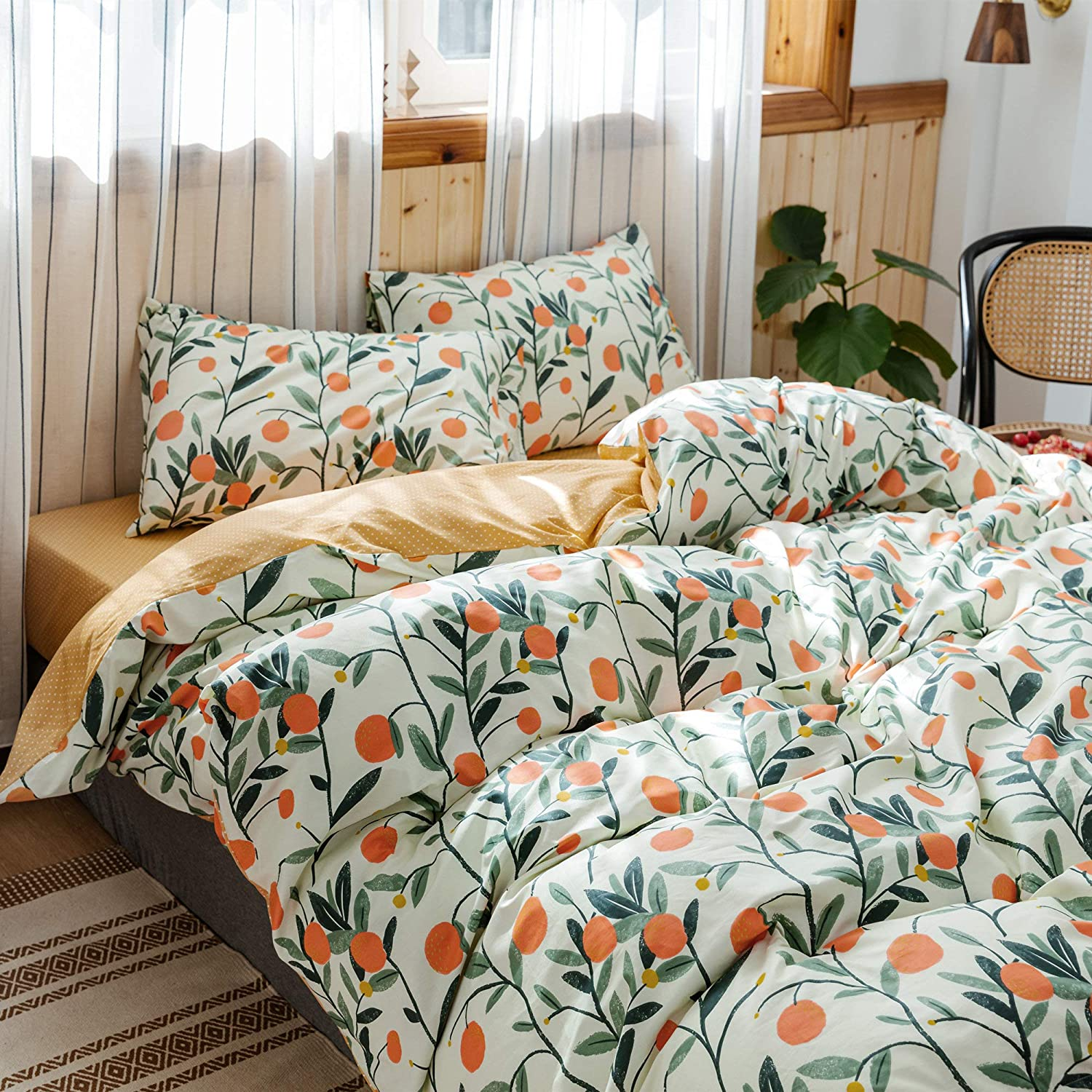 HoneiLife Duvet Cover Queen Size - 100% Cotton Comforter Cover Floral Duvet Cover Sets, Orange Duvet Cover with Zipper Closure & Corner Ties, 3pcs Wrinkle Free Comforter Cover Sets-Fruit: Home & Kitchen