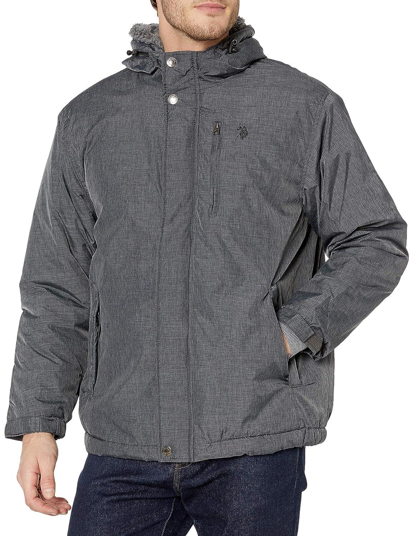 U.S Polo Assn Mens Standard Sherpa Lined Hooded Windbreaker