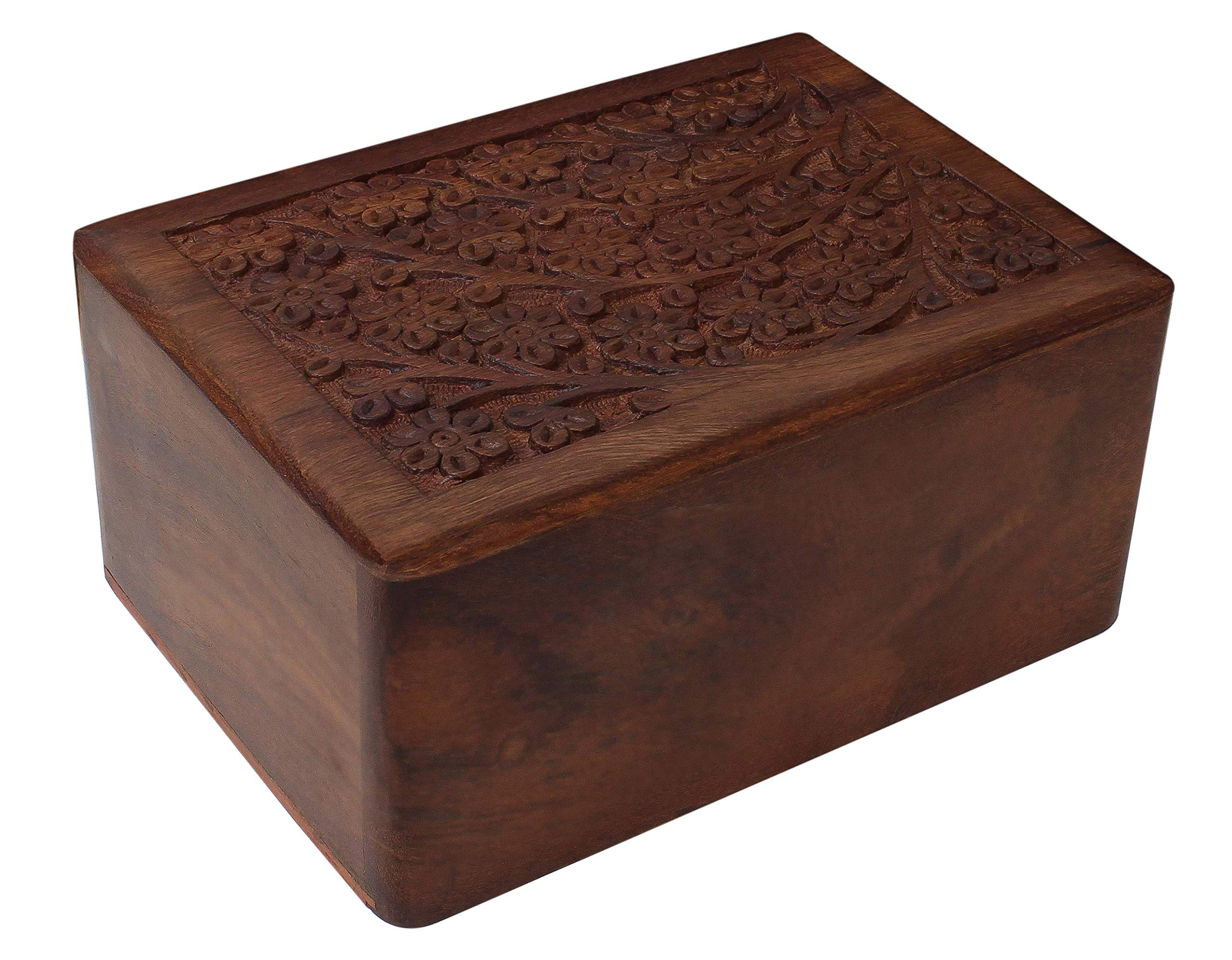 Tree of Life Hand-Carved Rosewood Urn Box - Medium by Bogati