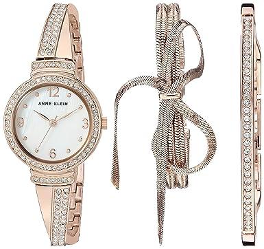 7ec468372f2 Anne Klein Women s AK 3256RGST Swarovski Crystal Accented Rose Gold-Tone  Bangle Watch and
