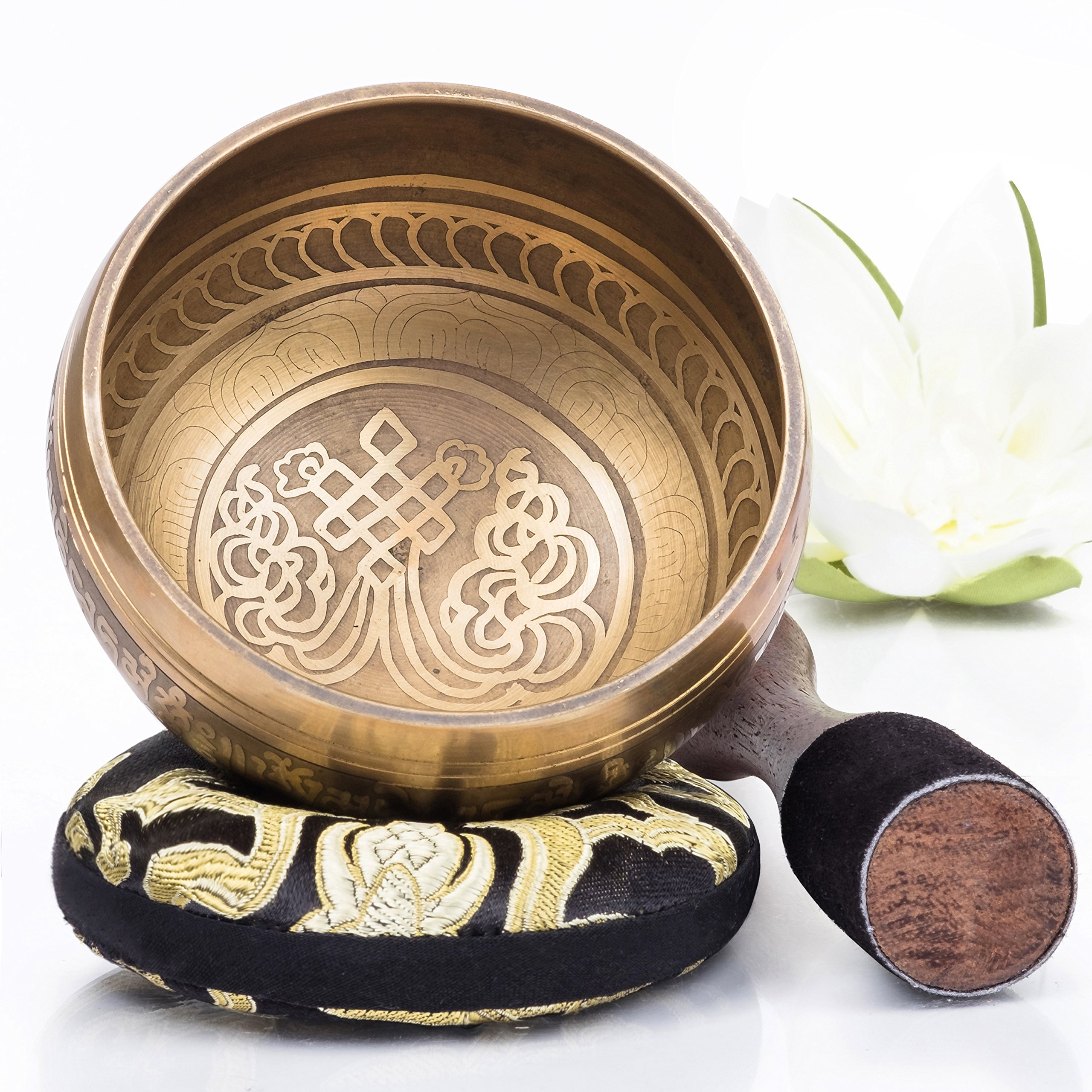 Silent Mind ~ Tibetan Singing Bowl Set ~ Bronze Mantra Design ~ With Dual Surface Mallet and Silk Cushion ~ Promotes Peace, Chakra Healing, and Mindfulness ~ Exquisite Gift by Silent Mind