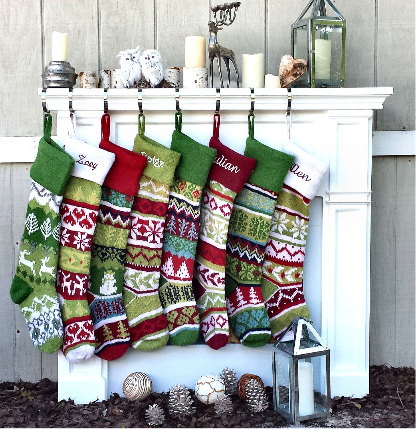SET OF 5 Oversized 28'' Knitted Christmas Stockings FairIsle Knit + Monogram - CHOOSE YOUR DESIGNS - Embroidered with Choice of YOUR Names by CHRISTMAS-STOCKINGS-by-STOCKINGFACTORY (Image #9)