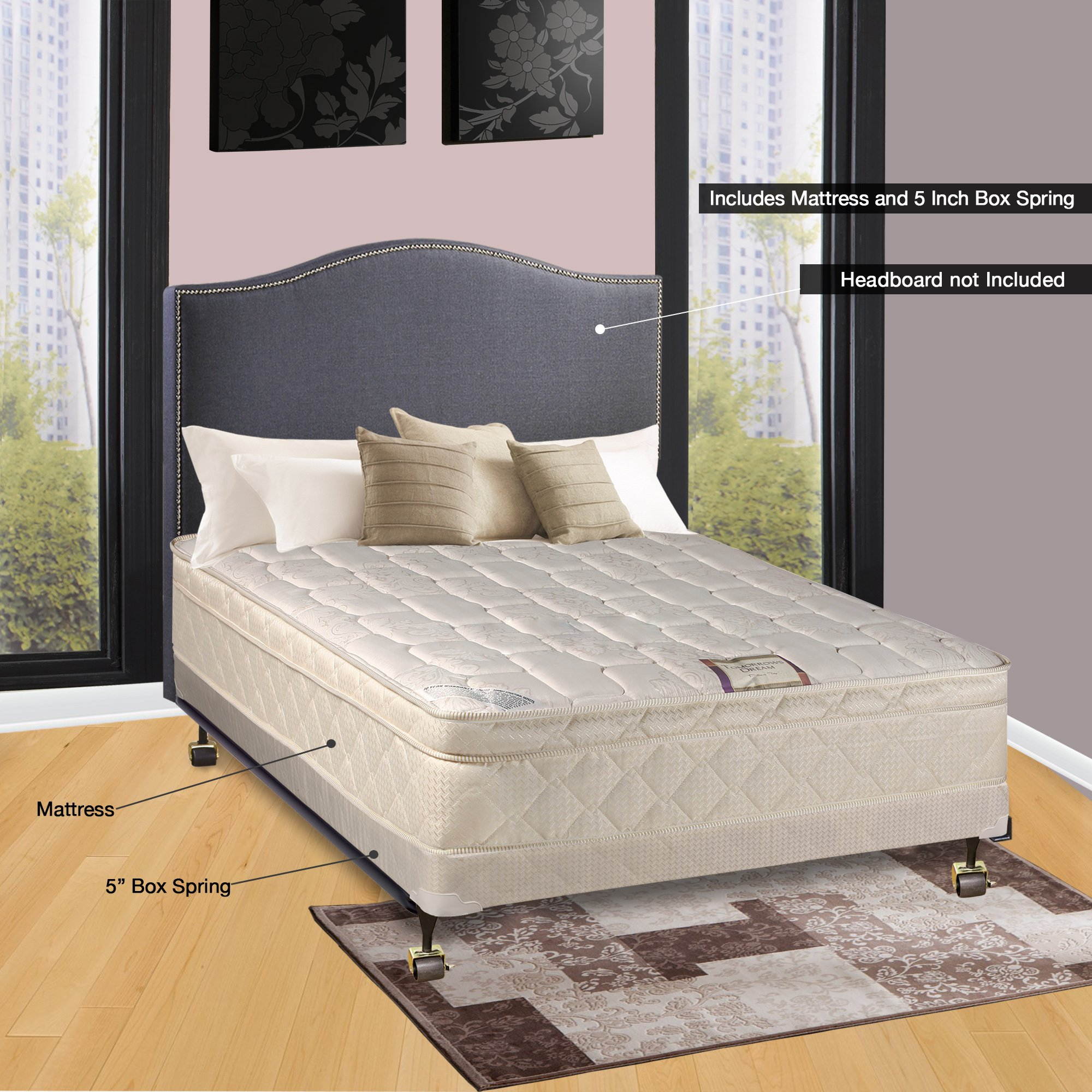 Spinal Solution, 10-Inch Plush Medium Eurotop Pillowtop Innerspring Mattress And 4-Inch Wood Traditional Box Spring/Foundation Set, Good For The Back, No Assembly Required, Full Size 74'' x 53''
