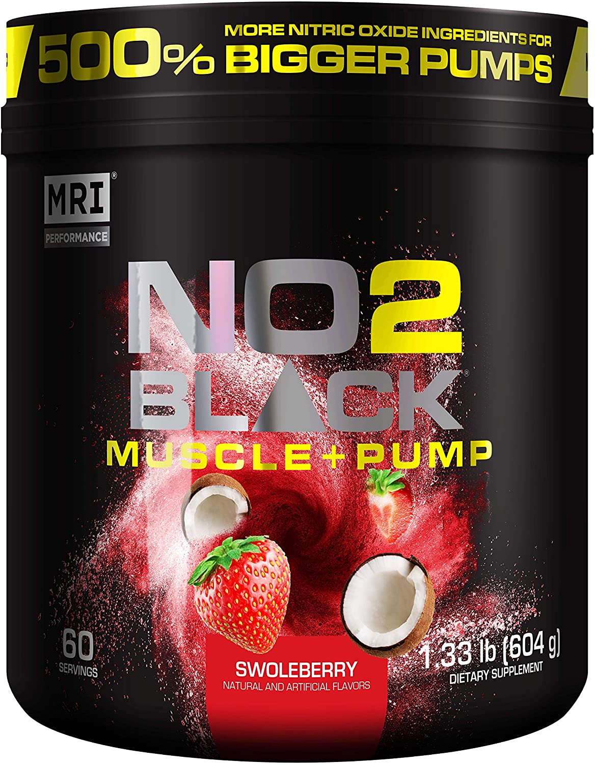 MRI NO2 Black Nitric Oxide Supplement for Pump, Muscle Growth, Vascularity & Energy - Powerful NO Booster Pre-Workout with Citrulline + 60 Servings (Swoleberry): Health & Personal Care
