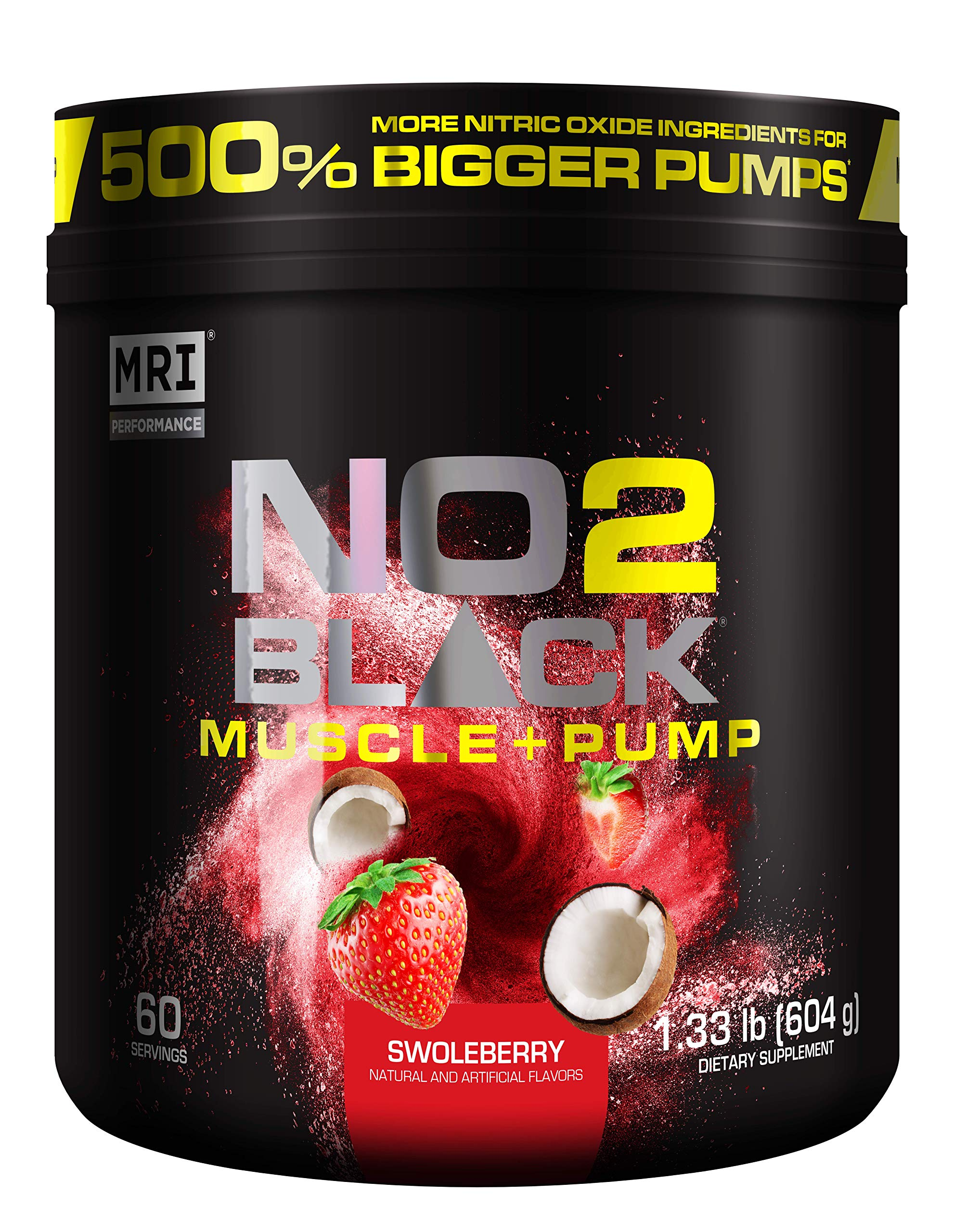 MRI NO2 BLACK Nitric Oxide Supplement for Pump, Muscle Growth, Vascularity & Energy - Powerful NO Booster Pre-Workout with Citrulline + 60 Servings (Swoleberry) by MRI