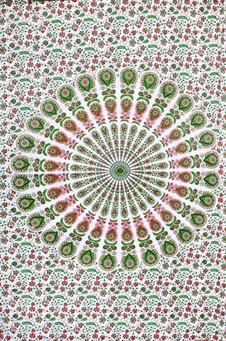 Wonderful Design Cotton Handmade Table Cover Tapestry Poster Green Color Hippie