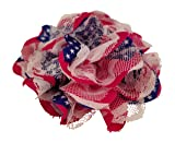 Chiffon Fabric Flowers - Red White and Blue