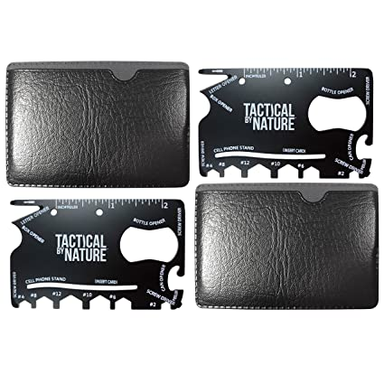 Wallet credit card multitool black - 2 pack - 18 all in one tool with a FREE pouch – cool tactical survival pocket sized multi tools and ninja like ...