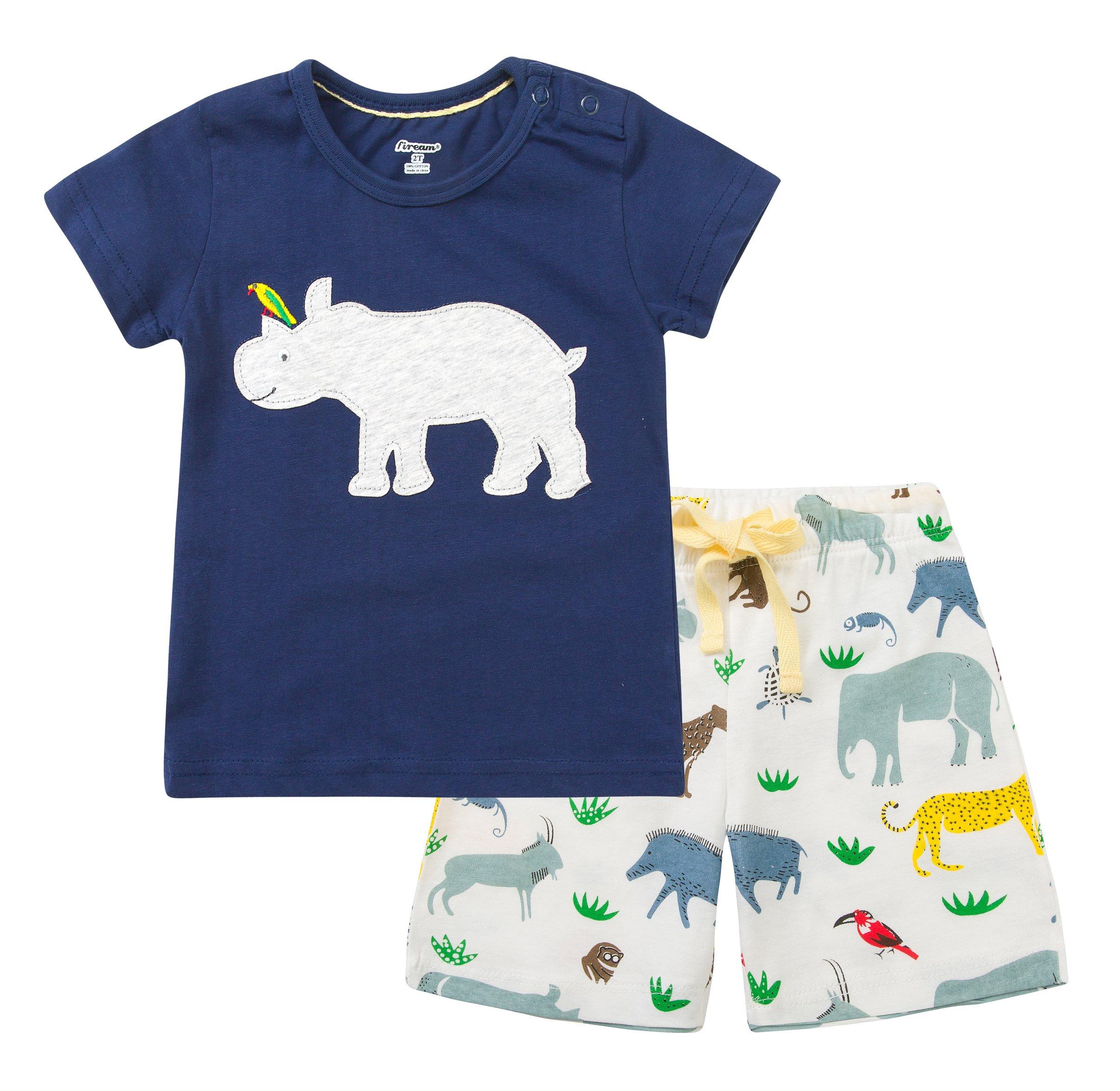 Fiream Baby Boy's Cotton Cute Short Sleeve Clothing Set(105Navy,3T)