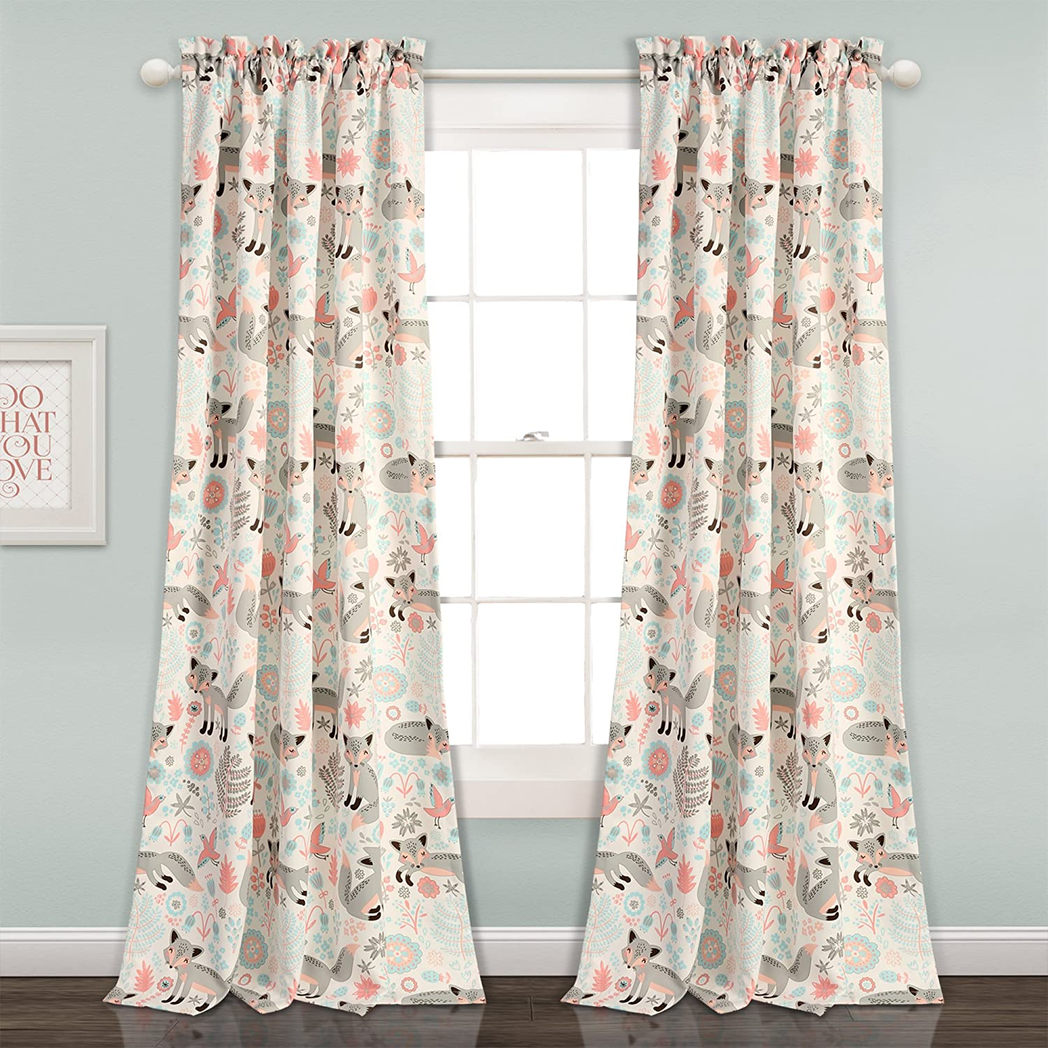 "Lush Decor 16T001678 Pixie Fox Room Darkening Window Curtain Panel Pair, 84"" x 52"", Gray & Pink"