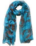 Echarpe mousseline, 180cm X 70cm. Couleur bleu, marron chocolat.