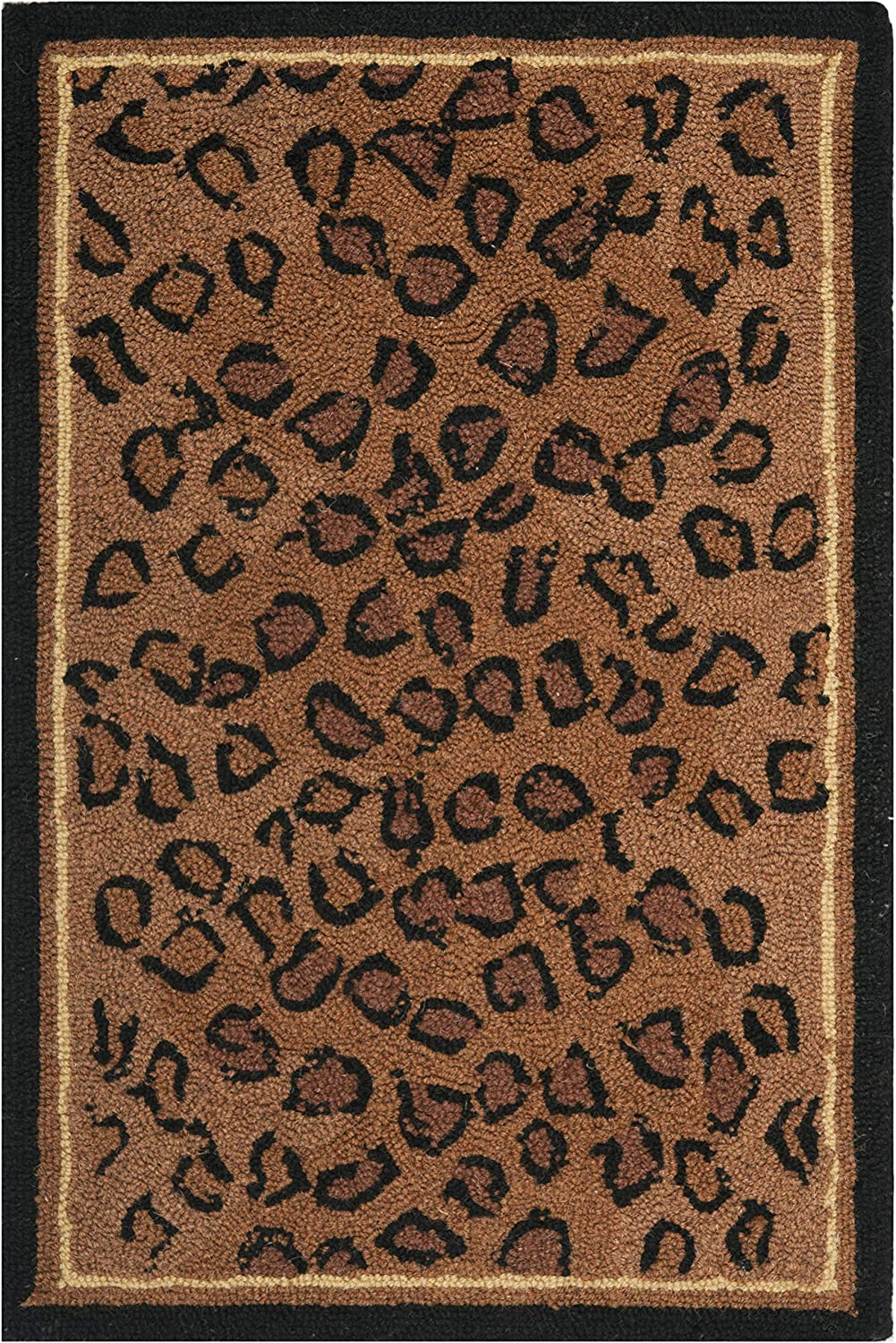 "Safavieh Chelsea Collection HK15A Hand-Hooked Black and Brown Premium Wool Area Rug (1'8"" x 2'6"")"