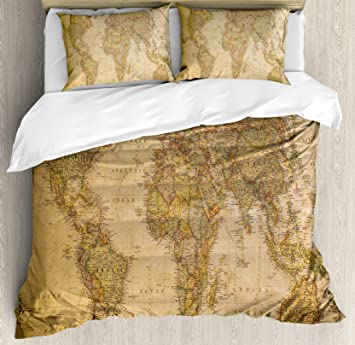 Ambesonne World Map Duvet Cover Set King Size, Anthique Old World Map in Retro Colors Vintage Nostalgic Design Art Print, Decorative 3 Piece Bedding Set with 2 Pillow Shams, Cream Pale Coffee