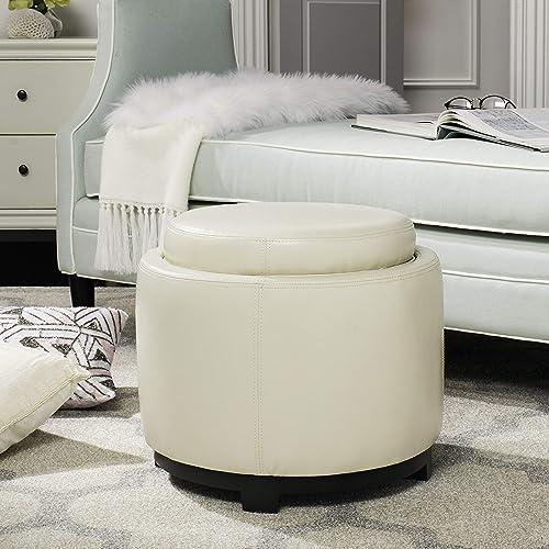 Safavieh Hudson Collection Chloe Leather Single Tray Round Storage Ottoman