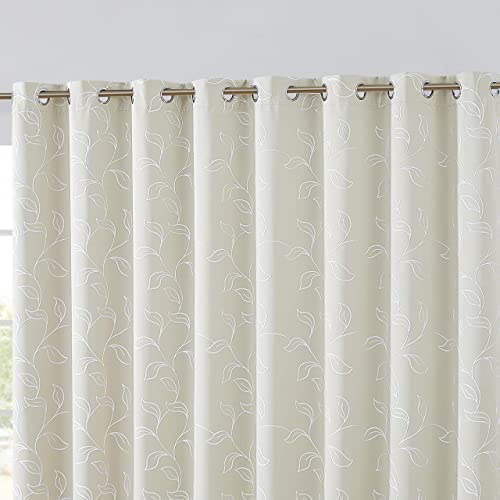 HLC.ME Carol Floral Embroidered Thermal Room Darkening Blackout Window Curtain Grommet Panels