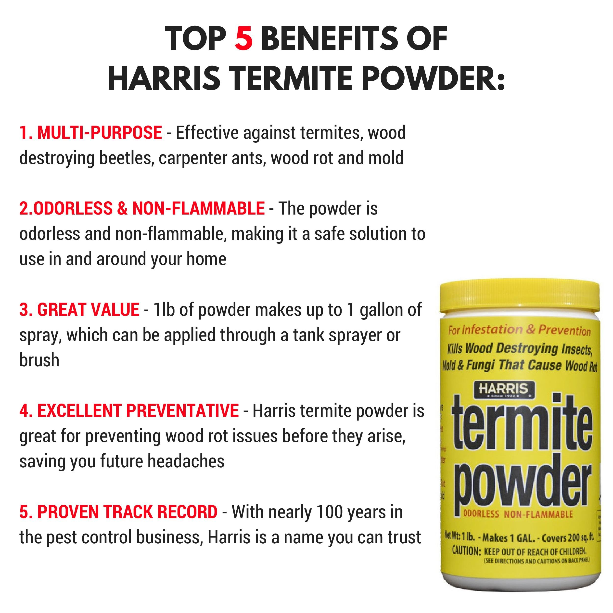 Harris Termite Treatment & Mold Killer, 16oz Powder, Makes 1 Gallon Liquid Spray for Preventing, Controlling and Killing Termites, Wood Destroying Beetles, Carpenter Ants & More