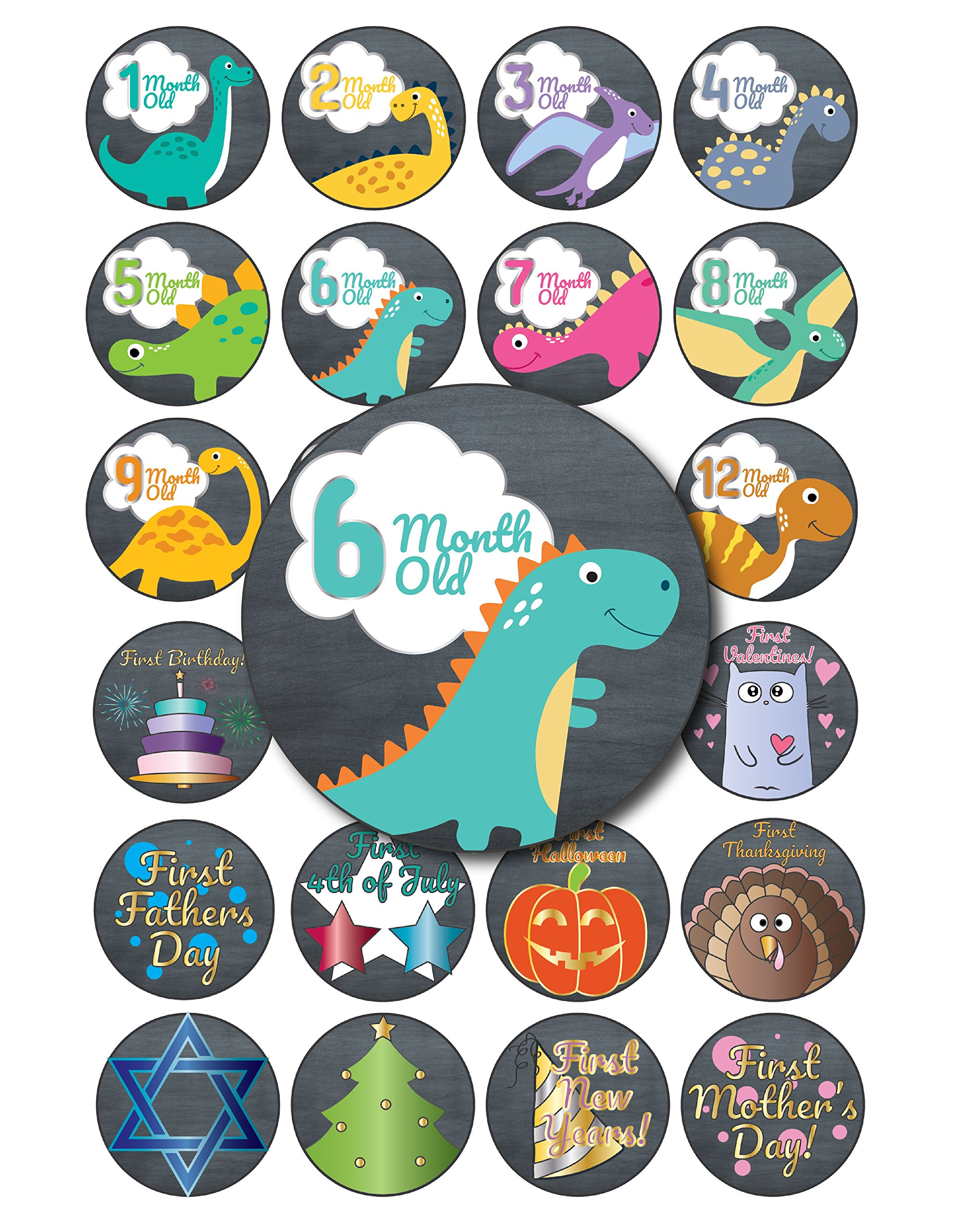 Rustic Pastel Dinosaur Baby Monthly Stickers, 24-Pack 4 inch 12 Monthly 1st Year Milestones & First Holidays Premium Baby Belly Stickers, Mom to Be or Dad to Be Gifts, Awesome Baby Shower Gifts by L&P Designs