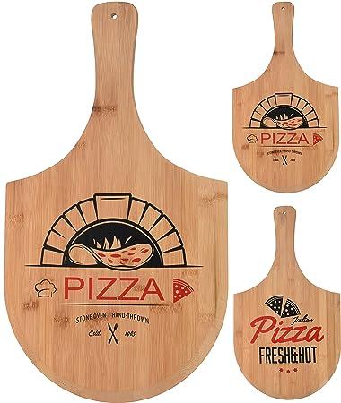 Spetebo Bambus Pizzabrett Holz Pizzateller Pizza Schneidebrett