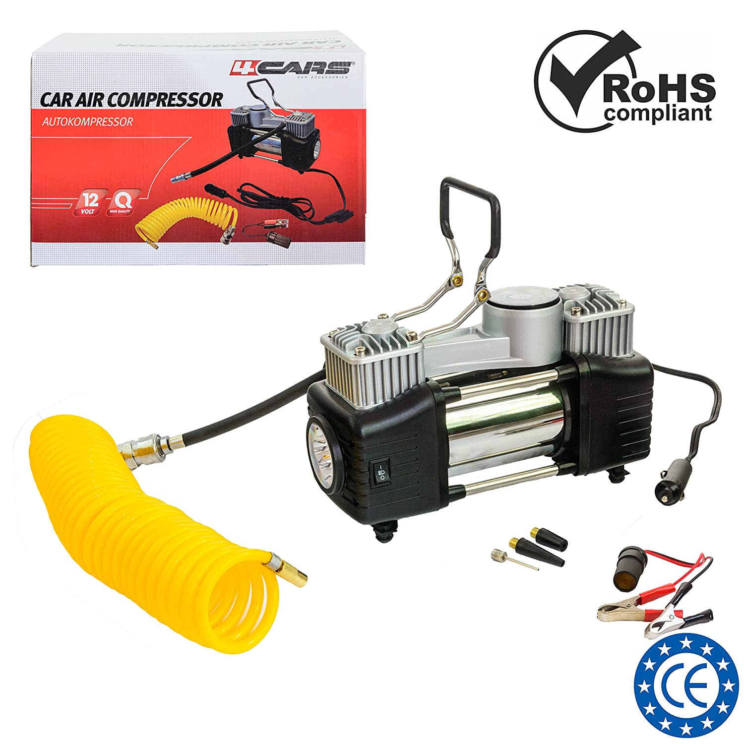 Portable car tyre 2-cylinder air compressor 12 V with coiled air tube extention; DC 12 Volt, max 23 A; max. pressure 150 PSI, flow rate: 85 l/min. Including zipper carry bag. 4CARS