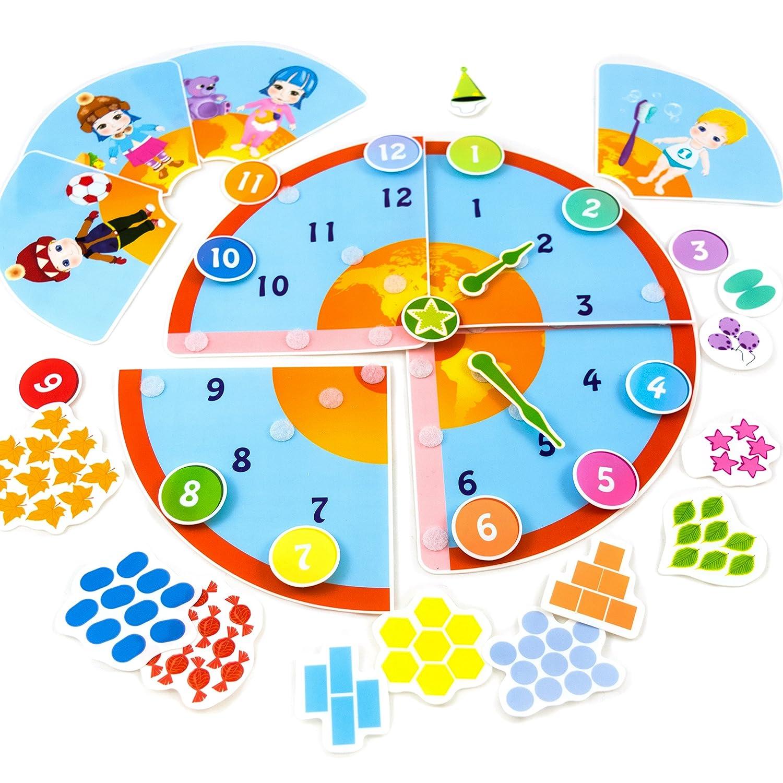 Picnmix Lernuhr Spielzeug und Lernspiele ab 4 Jahre bis 7 Jahre Aufkleber Spiele 112011