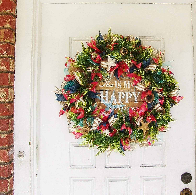 Amazon Com Beach Happy Place Summer Deco Mesh Front Door Wreath