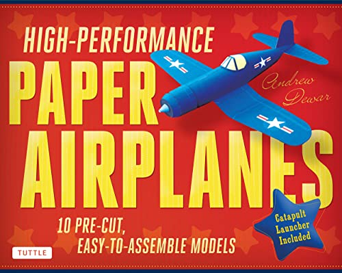 High-Performance Paper Airplanes Kit: 10 Pre-cut; Easy-to-Assemble Models: Kit with Pop-Out Cards; Paper Airplanes Book; & Catapult Launcher: Great for Kids and Parents!
