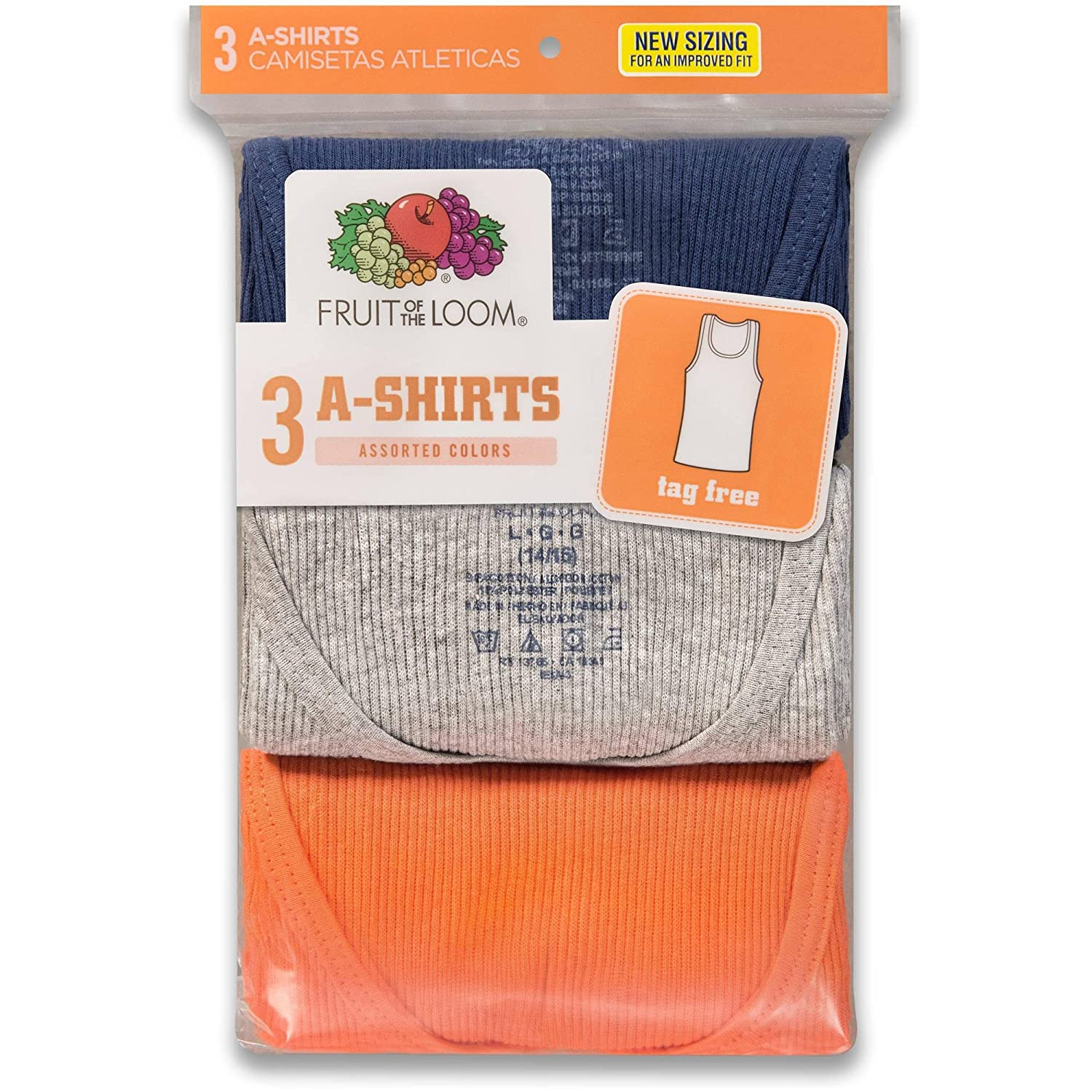 Fruit of the Loom 3Pack Boys Assorted A-Shirts Tank Tops Undershirts Tanks XL P504B