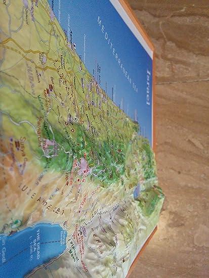 Amazoncom BiblicalWorld Raised Relief 3D Map of Israel LARGE 20