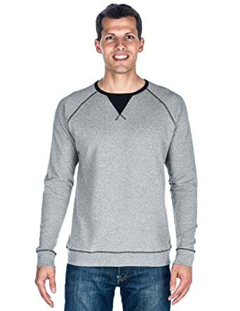 Amazon.com: Mens Solid Thermal Long Sleeve T-shirt - Heather Grey ...