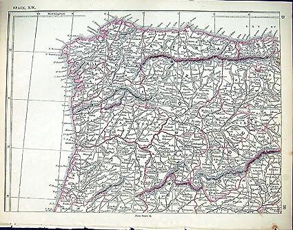 Mappa Spagna Nord Ovest.Mappa Spagna Galizia Asturia Madrid Di Nord Ovest Dell Oggetto D Antiquariato Di C1860 Lowry Amazon It Casa E Cucina