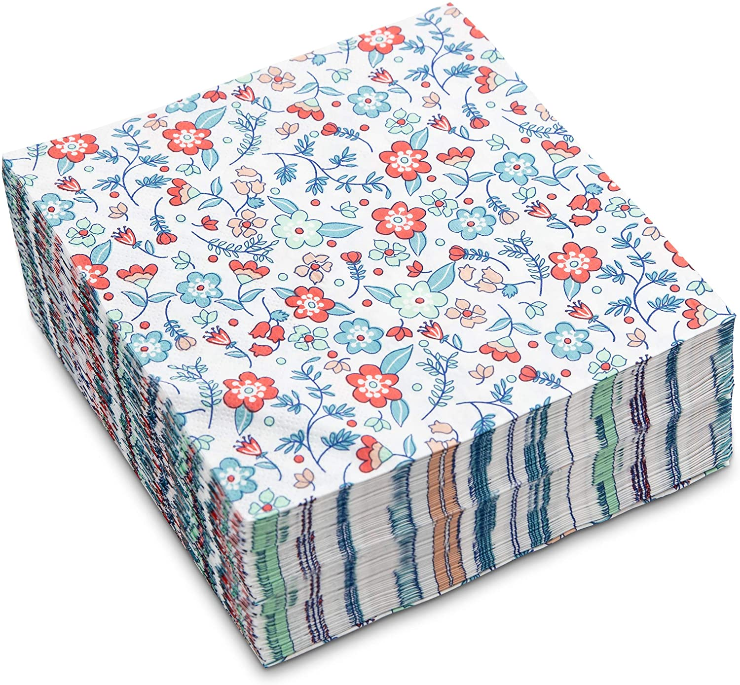 Sweetzer & Orange Lunch Napkins Bulk Set of 40. White Napkins with Liberty Flower. 6.5 x 6.5 Inch (Folded) Party Napkins. Soft 2-Ply Eco Disposable Paper Napkins for Dessert, Cocktail or Wedding