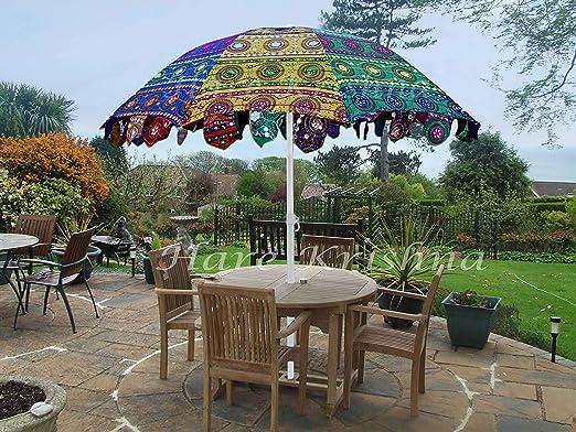 Hare Krishna Sombrilla para jardín Estilo Indio Sombrilla para terraza de café al Aire Libre 177 x 228 Cm: Amazon.es: Hogar