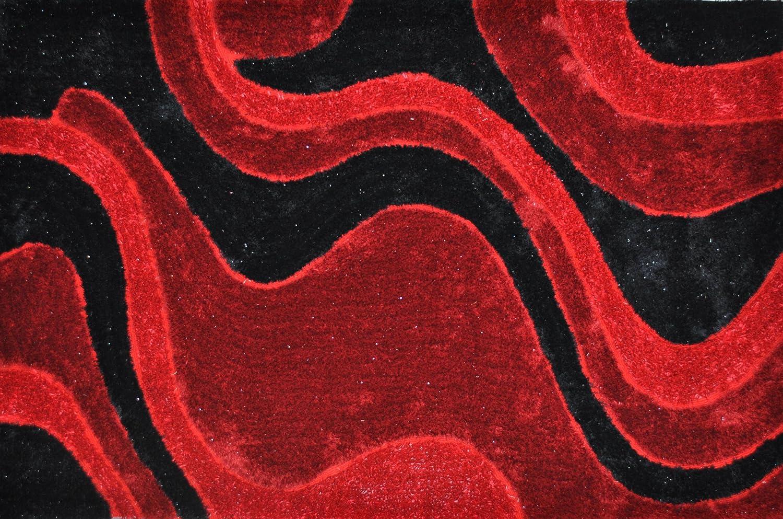 EverRouge 3D Polyester Silk Area Rug, 8-Feet by 10-Feet, Burgundy 0022226
