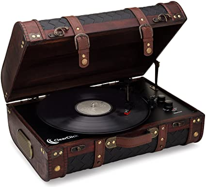 ClearClick Vintage Suitcase Turntable with Bluetooth \u0026 USB , Classic Wooden  Retro Style