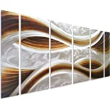 """Pure Art Caramel Desire Metal Wall Art, Large Scale Decor in Abstract Ocean Caramel Design, 6-Panels Measures 24"""" x 65"""", 3D Wall Art for Modern and Contemporary Decor, Great for Indoors and Outdoor"""