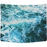 Sunm boutique Wall Tapestry Blue Ocean Wave Tapestry Sea Wall Hanging Tapestry Wall Art Decor Tablecloth