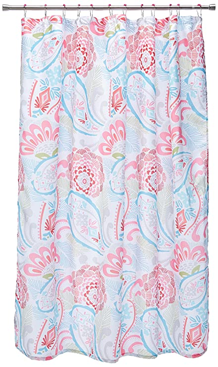 US Polo Association 130 GSM Waffle Knit Beverly Paisley Shower Curtain With Rollerball Hooks Pink