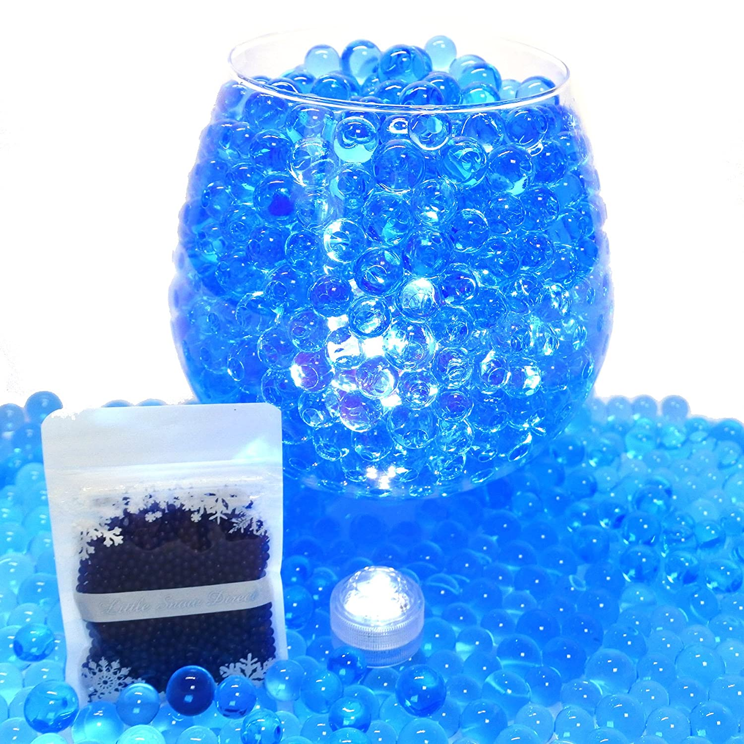 20g Aqua Water Crystal Beads Crystal Soil Gems Bio Gel Balls Wedding Vase Decoration - Waterproof LED Light Included - Mint Little Snow Direct