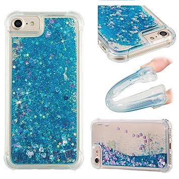 coque iphone 8 liquide paillette bleu